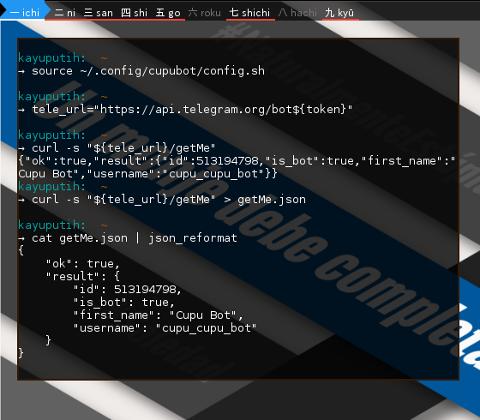 BASH: Telegram Bot: redirect JSON output to file