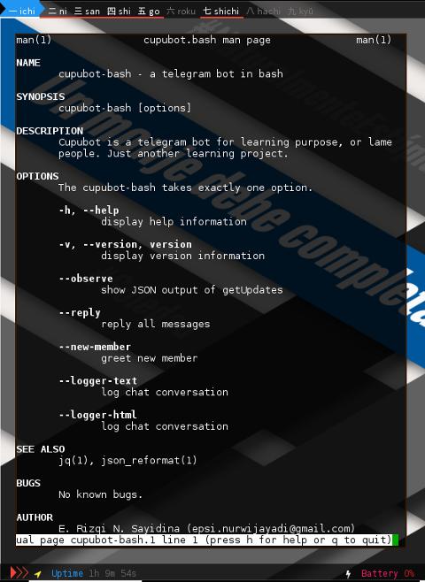 BASH: Telegram Bot: Manual Page