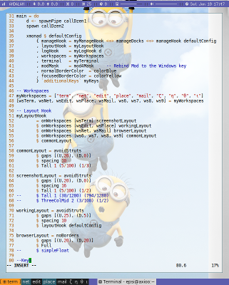 Haskell Dollar Syntax with Minion in XMonad