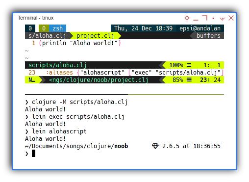 Clojure: Execute Script with Leiningen