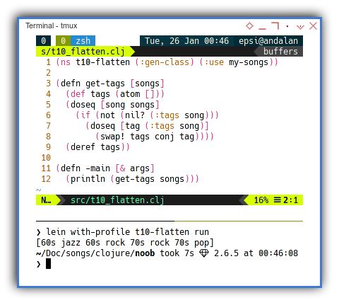 Clojure: Imperative Flatten Using Atom