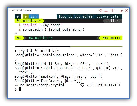 Crystal: Using Songs Module