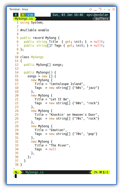.NET C#: The MySongs Class