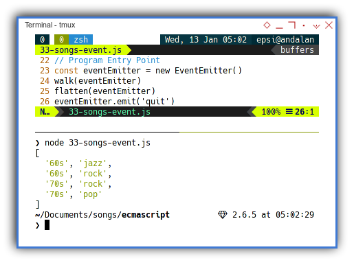 NodeJS: Concurreny with Event Emitter: Sender and Receiver