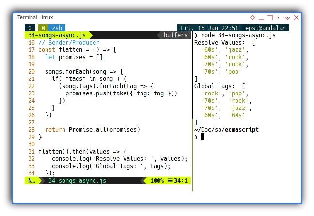 NodeJS: Concurreny with Promise: Sender