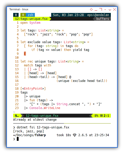 .NET F#: Unique Using Recursive Pattern Matching