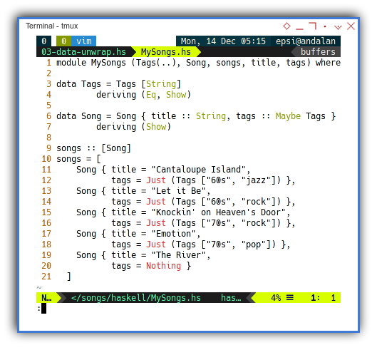 Haskell: Song Data Structure