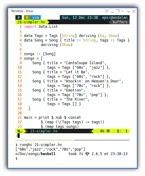 Haskell: Simpler Songs Record