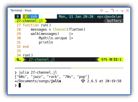 Julia: Concurreny with Channel: Running Both Thread