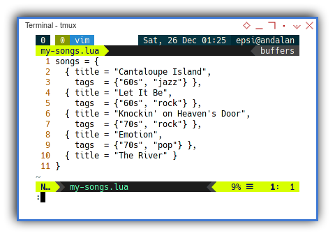 Lua: The Songs Module Containing List of Record