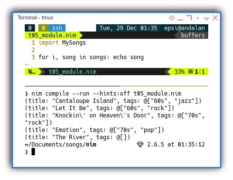 Nim: Using Songs Module
