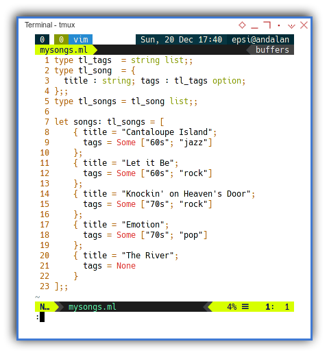 OCaml: Song Data Structure in Separate File