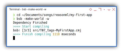 ReasonML: bucklescript make world watch