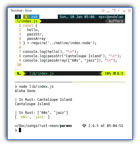 Rust Native NodeJS: Passing and Casting: Javascript Output