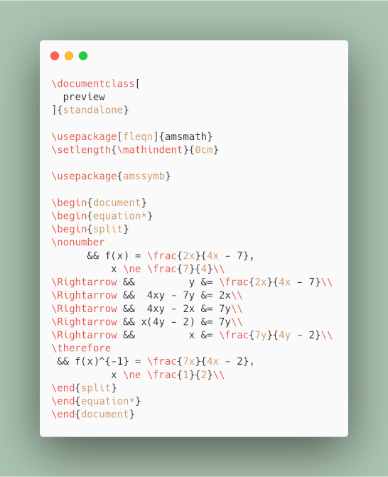 LaTeX Source: carbon.now.sh result